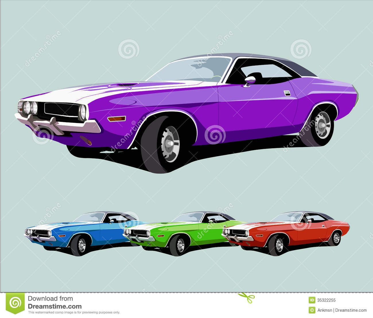 Hot American Muscle Car Stock Vector Illustration Of Chrome 35322255