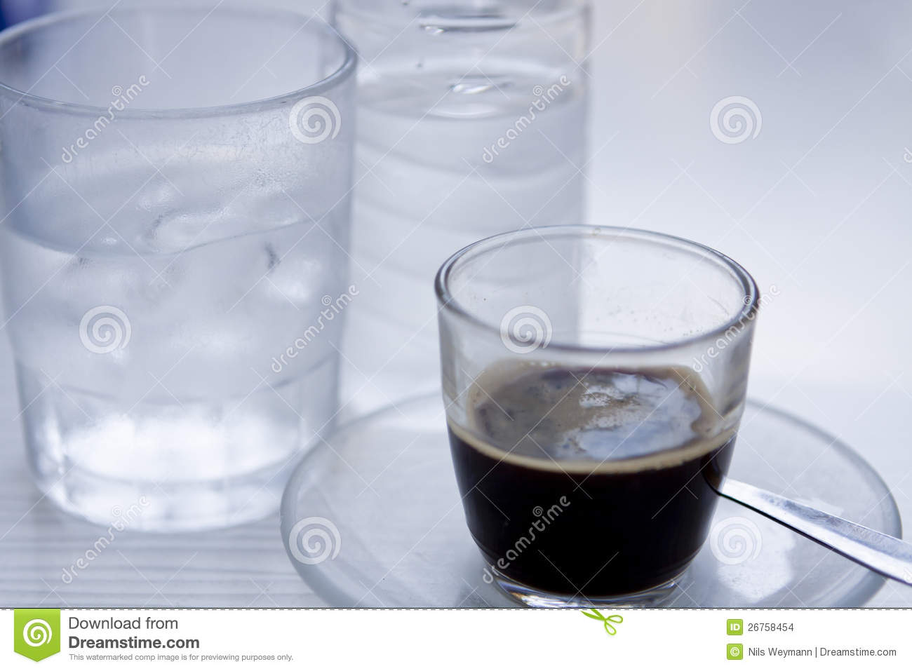 Hot Aromatic Espresso Cup And Cold Water In Glass Stock ...