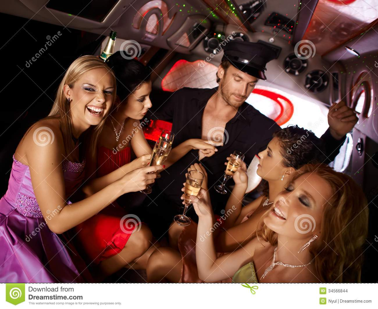Explore The Beauty Of Caribbean: Hot Bachelorette Party In Limo Stock Photo