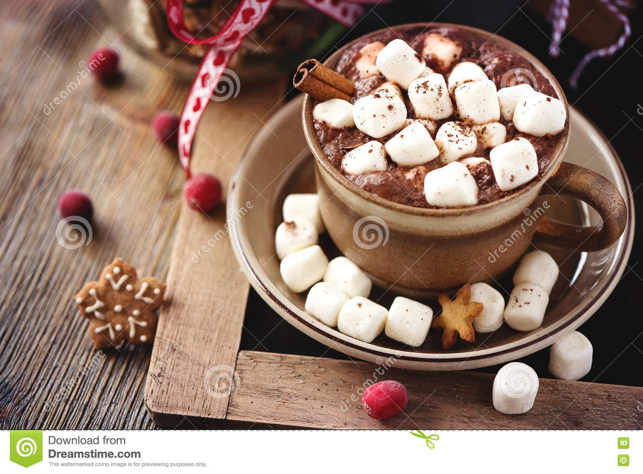Hot Cacao Drink With Marshmallows Gift Box And Christmas Cookie