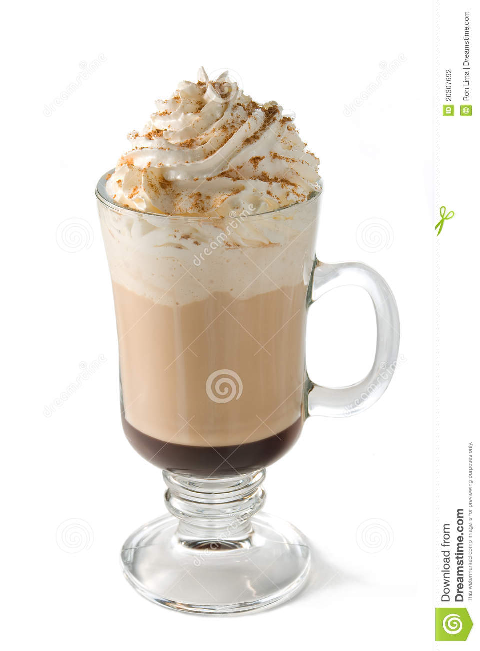 Hot Cafe Mocha Coffee In A Glass Cup Finished With Whipped Cream And