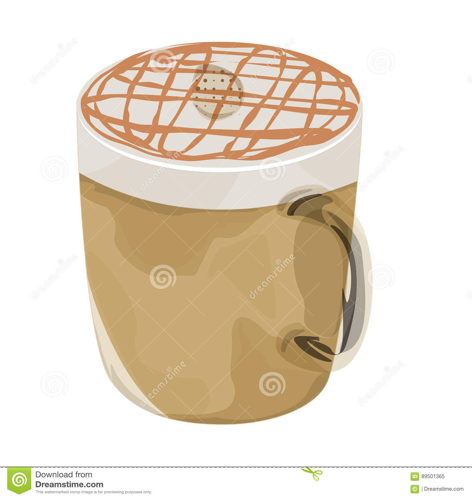 Hot caramel macchiato coffee vector icon