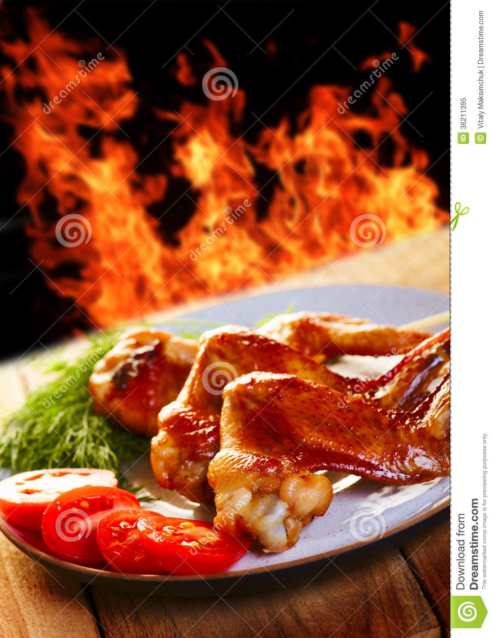 Hot chicken BBQ a stoc...
