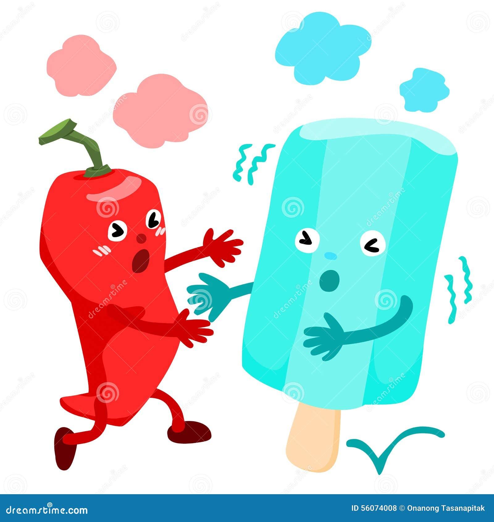 Hot chili pepper run to cold ice cream vector