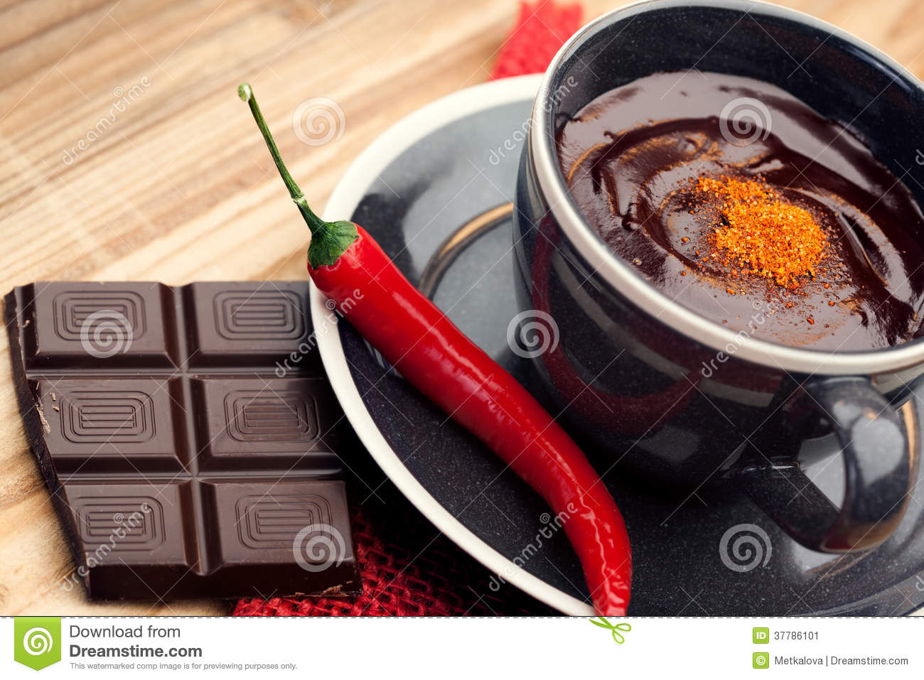 Hot Chocolate With Chili Pepper Stock Image - Image: 37786101