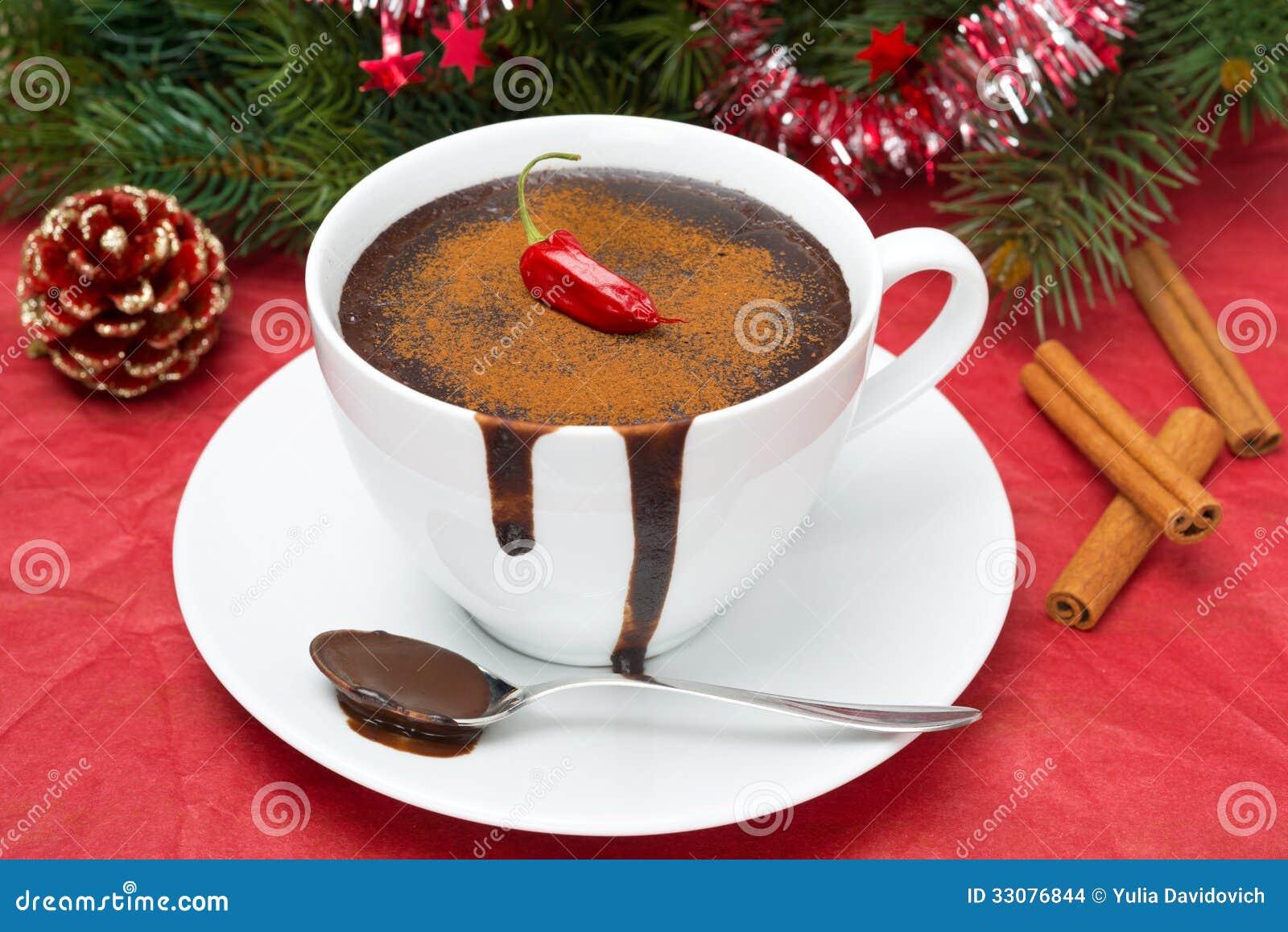 Hot Chocolate With Chili, Cinnamon For Christmas Royalty Free ...