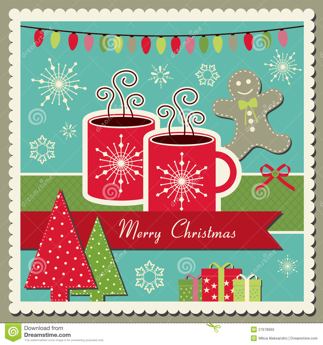 Hot Chocolate Christmas Card Stock Vector Illustration Of Steam