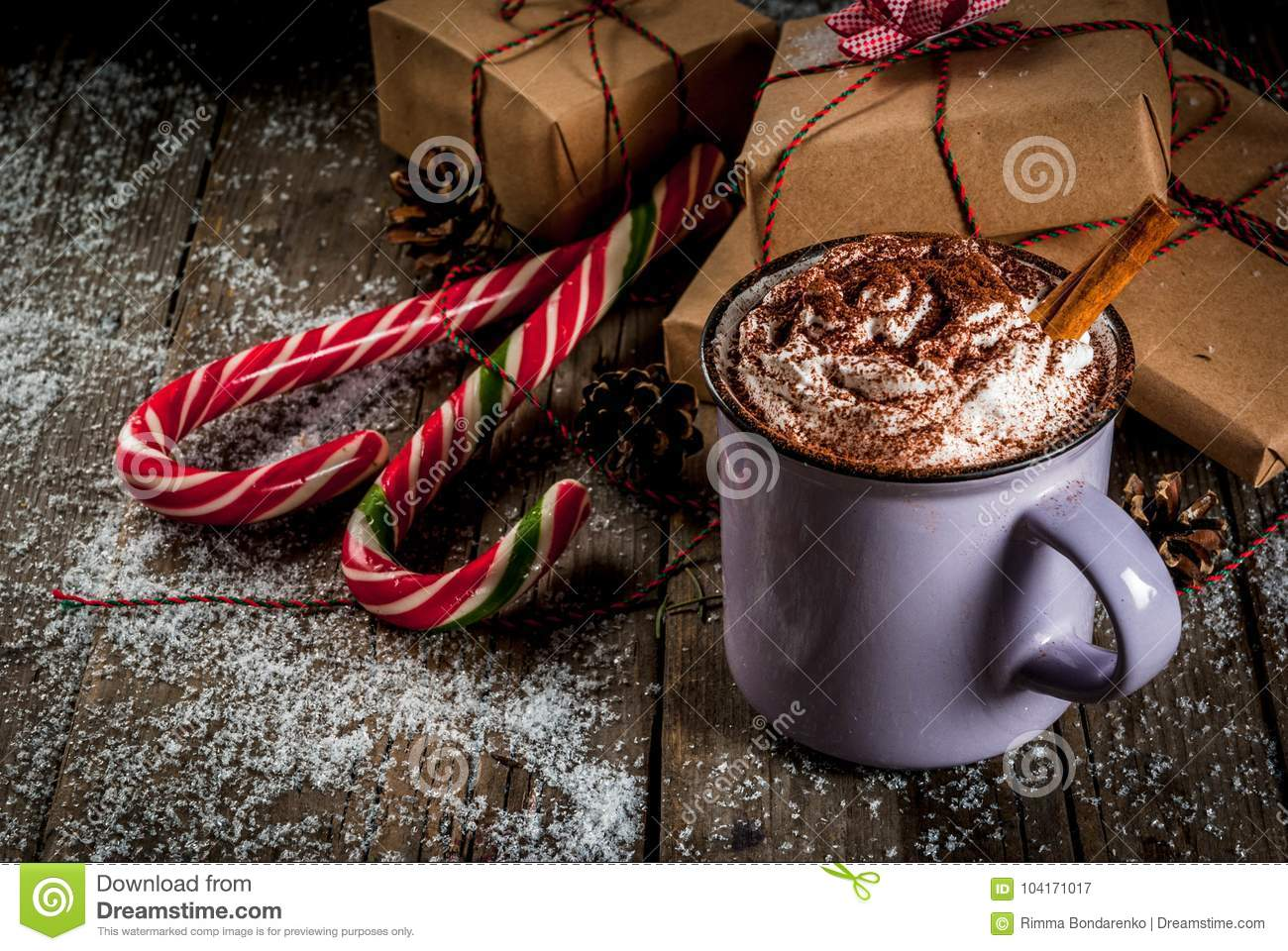 Hot Chocolate And Christmas Gifts Stock Image - Image of gifts ...