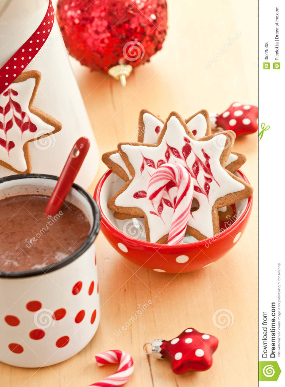 Hot Chocolate And Colorful Decorated Christmas Cookies Stock Photo