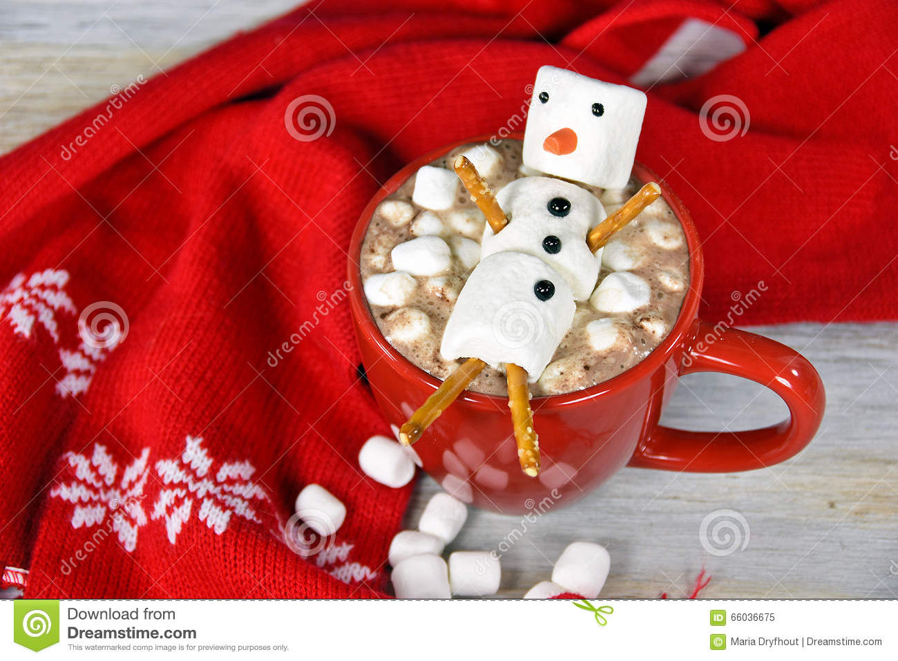 Hot chocolate drink with marshmallow snowman
