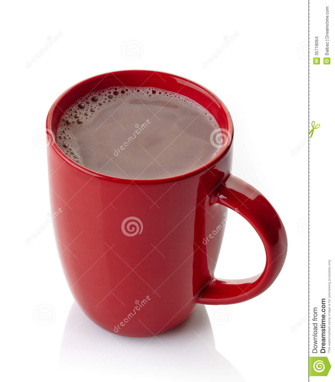 Red mug of hot chocolate drink isolated on white background.