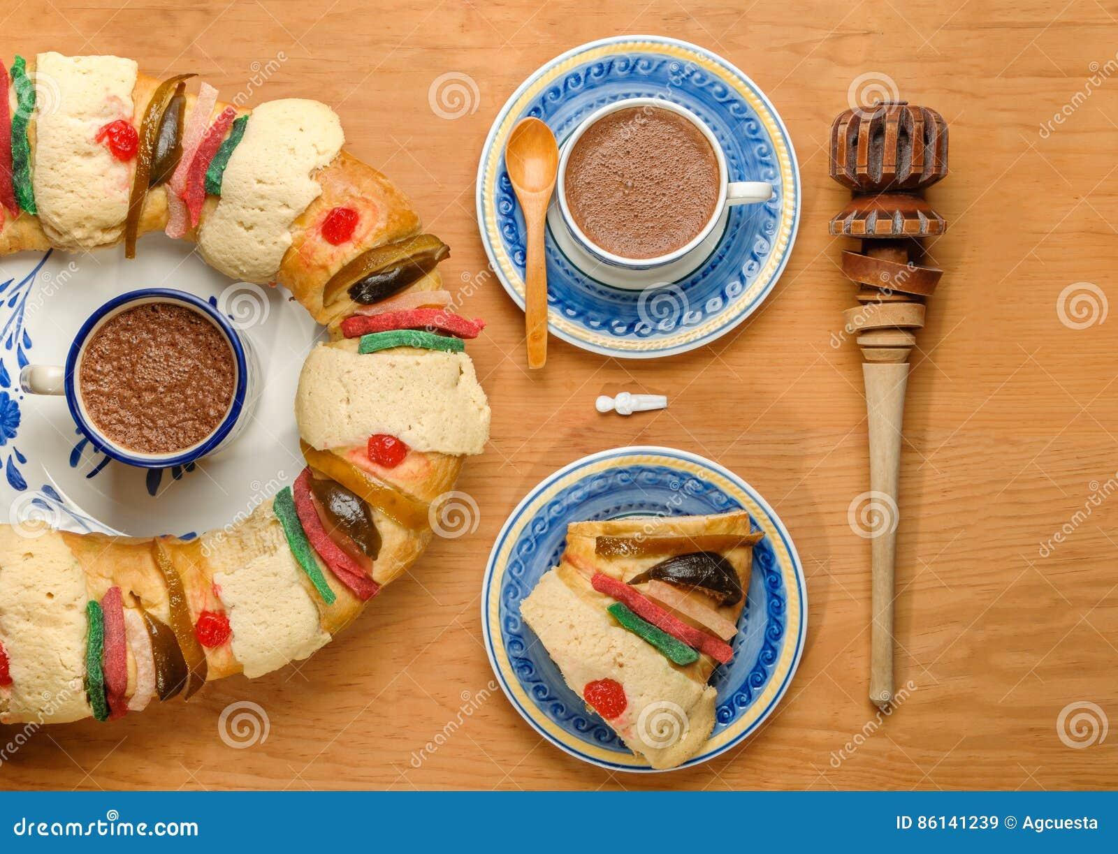 Hot Chocolate with Epiphany cake, Kings cake, Rosca de reyes or Roscon de reyes