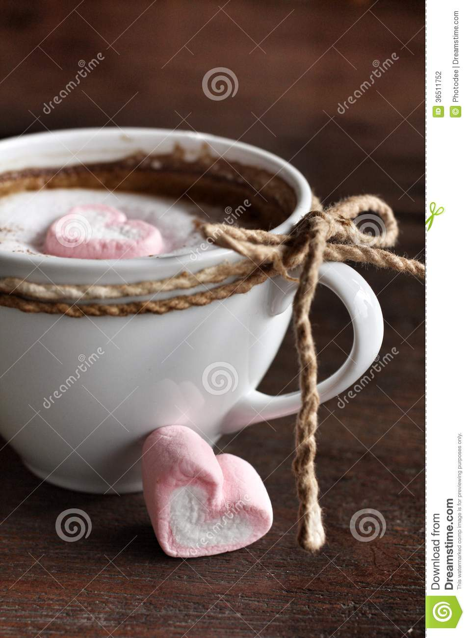 Hot chocolate with heart pink marshmallow
