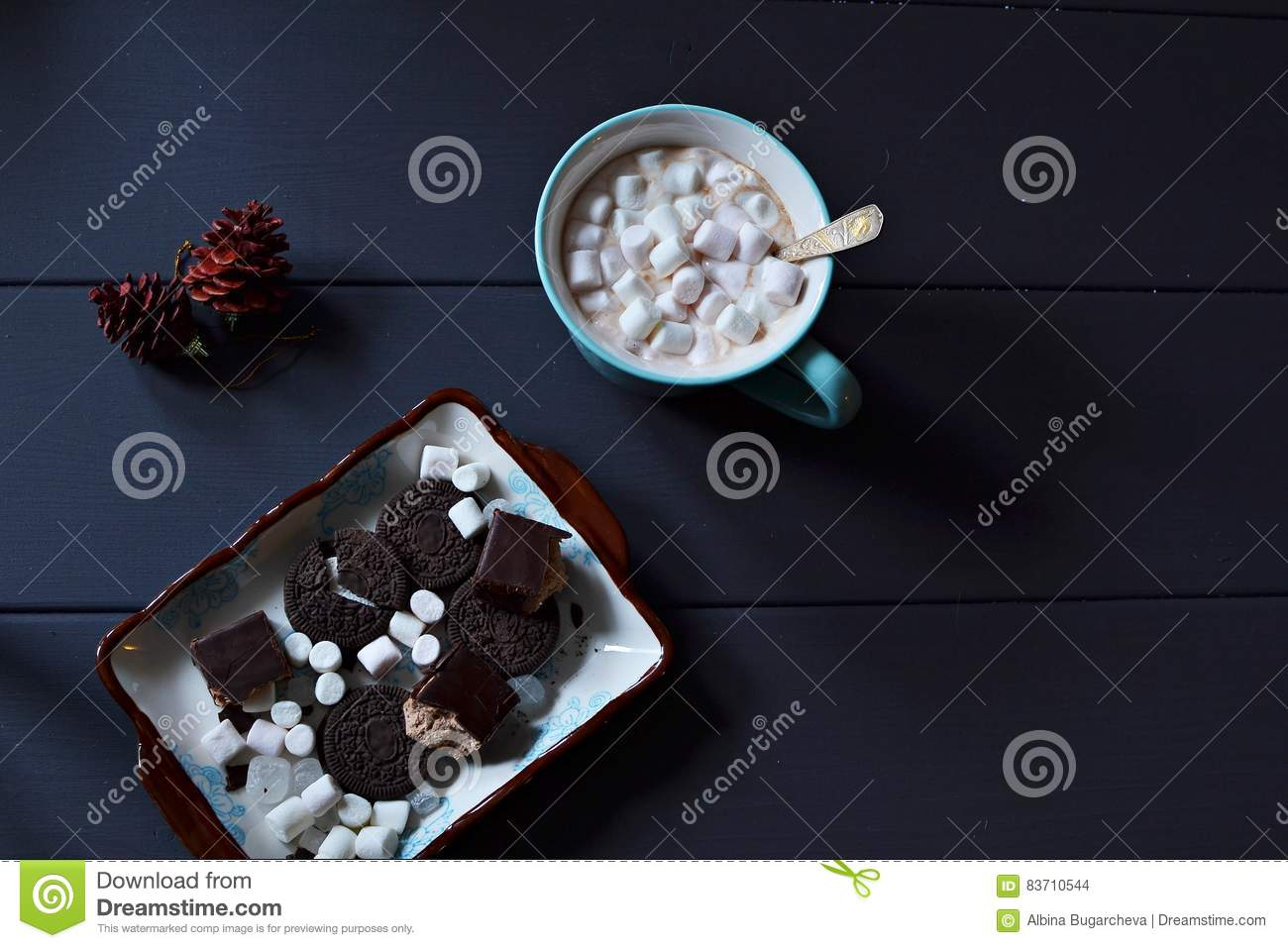 Hot Chocolate With Marshmallows And Sweets Stock Photo