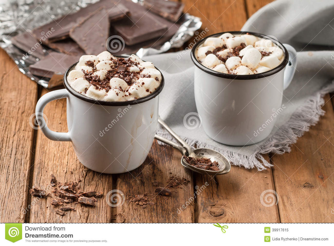 hot chocolate with marshmallows in two enamel tin mugs stock image image 39917615. Black Bedroom Furniture Sets. Home Design Ideas