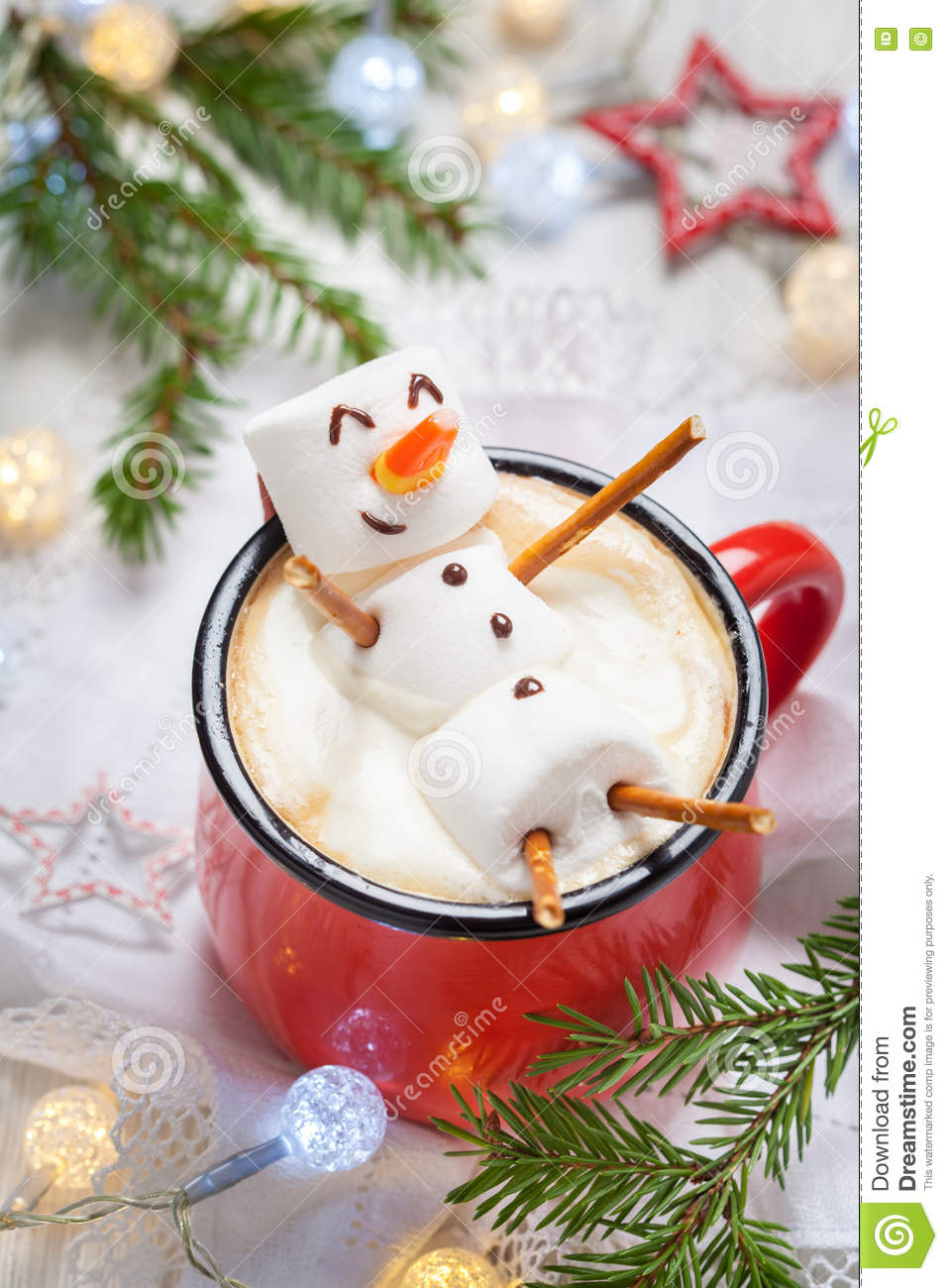 Hot chocolate with melted marshmallow snowman