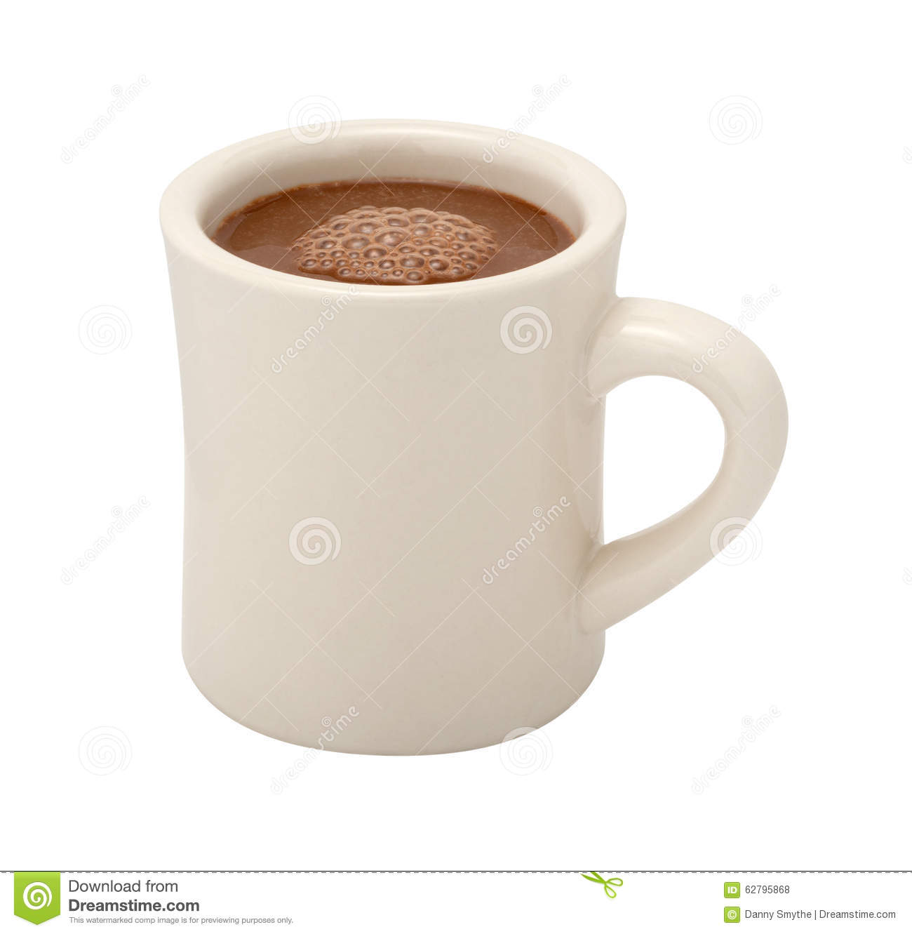 Hot Chocolate in a white ceramic mug. The image is a cut out, isolated ...