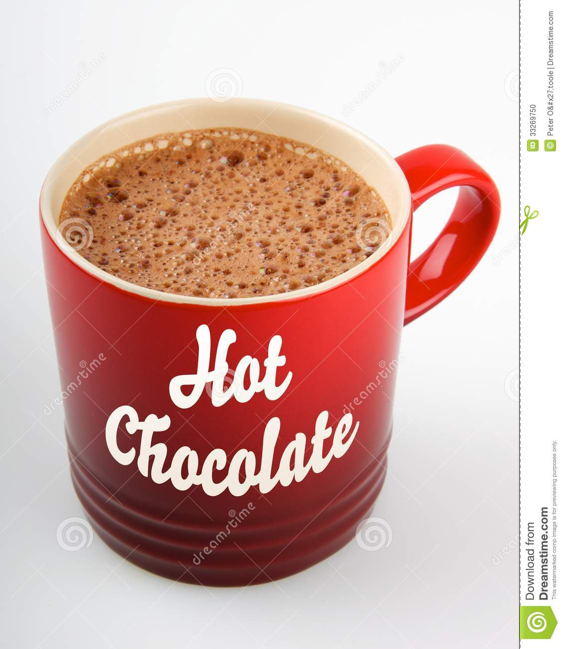 red hot chocolate mug with bubbly hot chocolate. 'Hot Chocolate ...