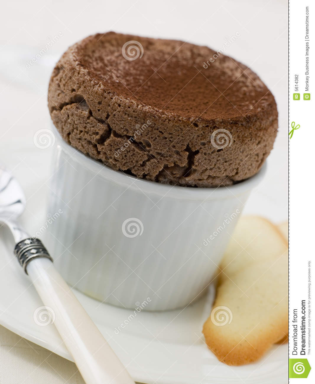 hot chocolate souffle with langue de chat biscuits stock. Black Bedroom Furniture Sets. Home Design Ideas