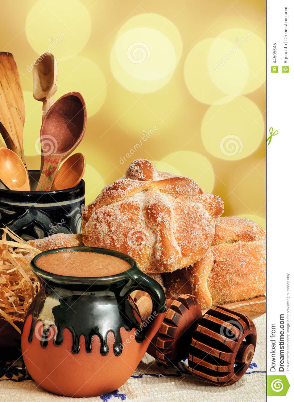 Hot Chocolate And Sweet Bread Pan De Muerto Stock Photo