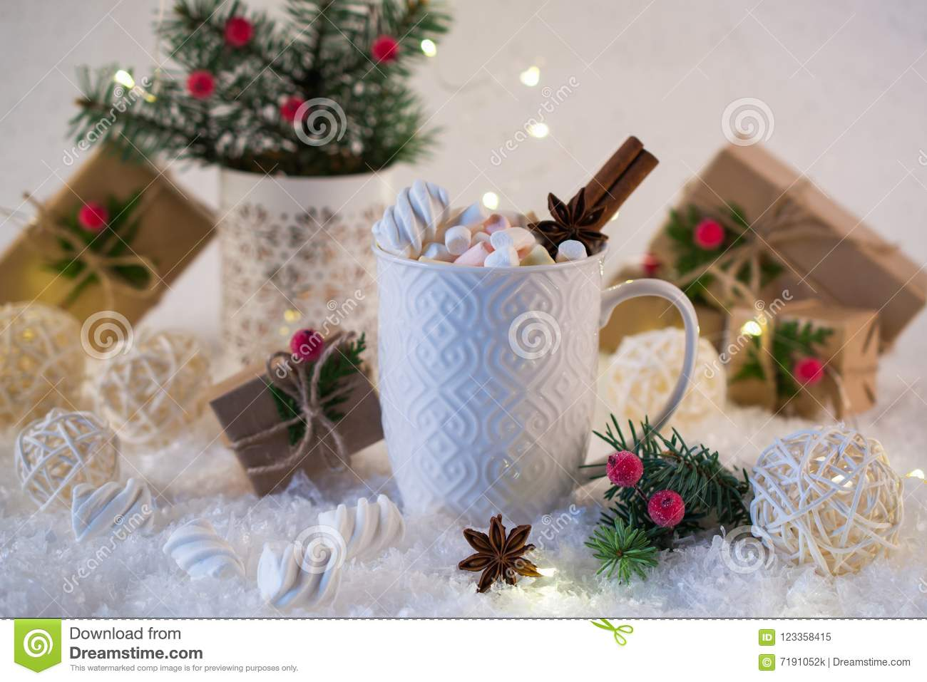 Hot Chocolate In A White Cup With Marshmallows And Christmas Gifts ...