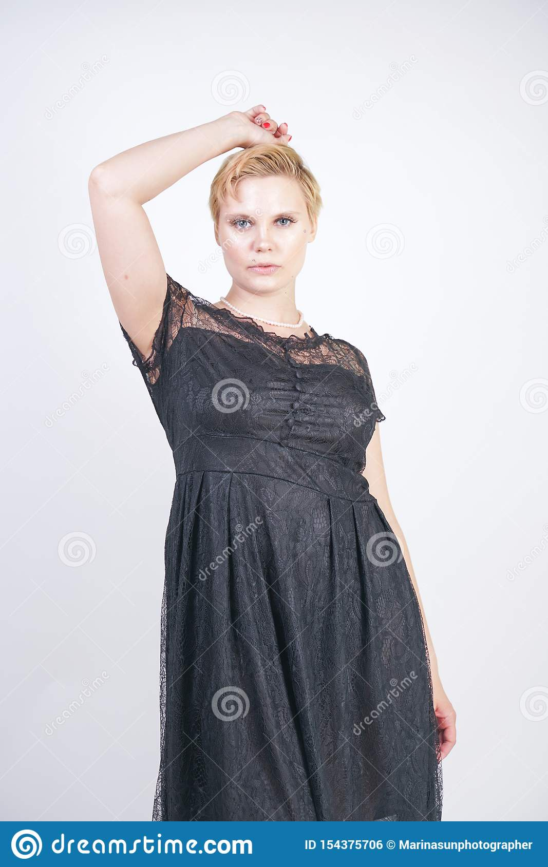Hot Chubby Short Hair Woman With Cute Goth Lace Dress Stock Photo Image Of Luxury Evening 154375706