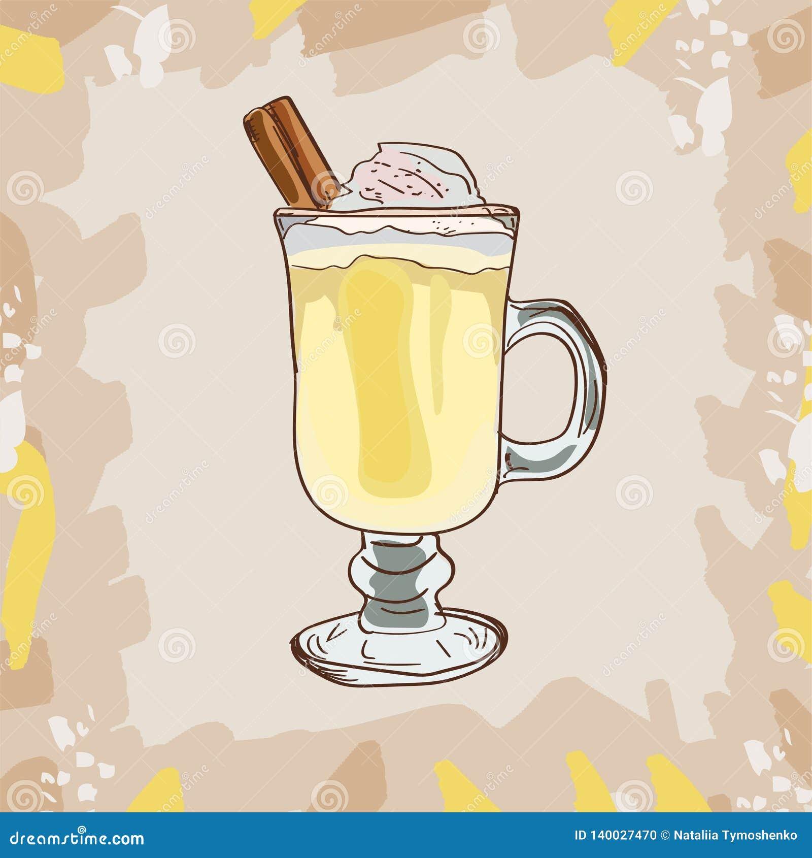 Hot Cinnamon Eggnog Classic Cocktail Illustration