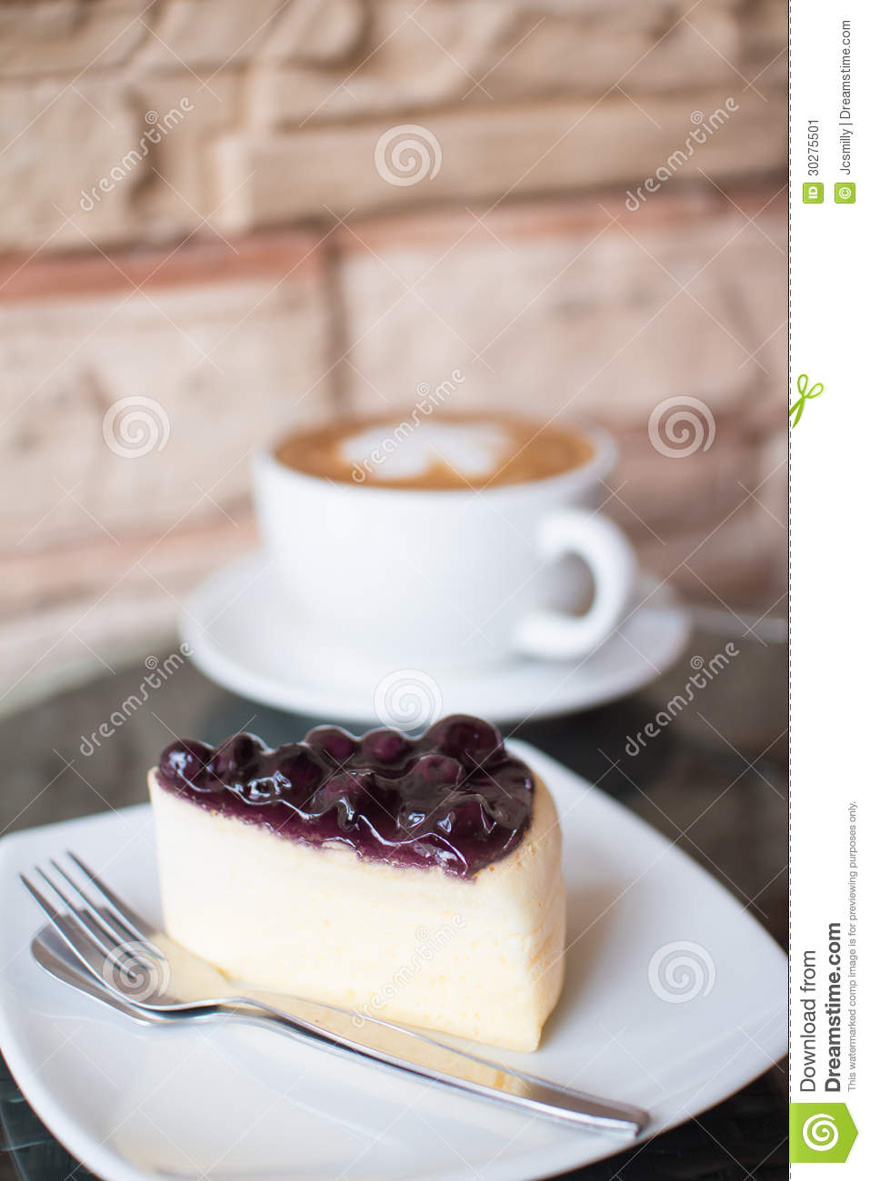 Hot Coffee And Blueberry Cheesecake. Stock Image - Image: 30275501