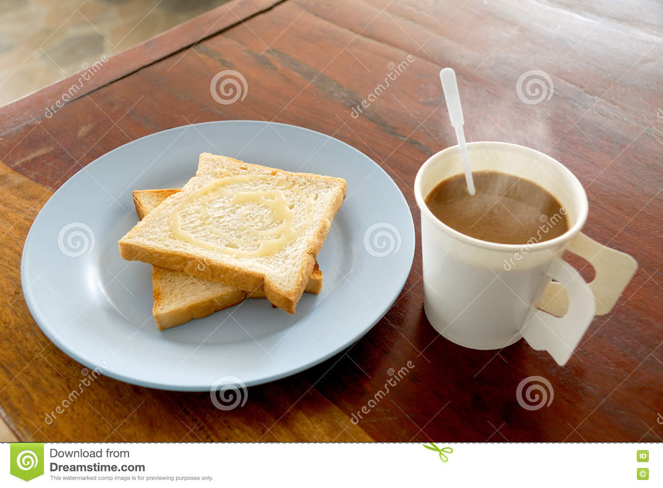 Hot Coffee And Bread Toast Topped With Milk For Breakfast ...