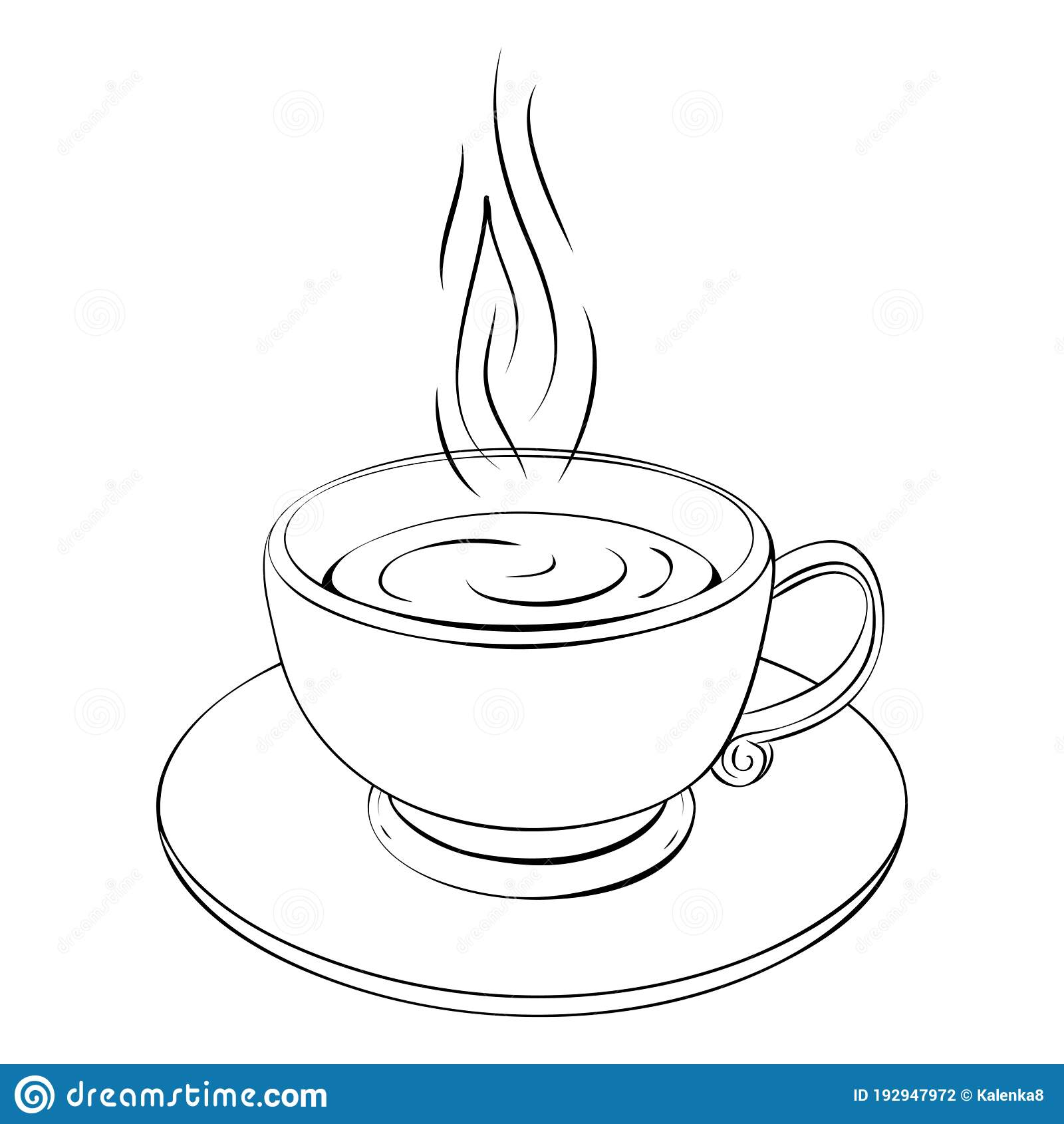 Hot Coffee Cup Or Teacup Line Drawing Isolated On White Coffee Break Or Tea Sketch Icon Outline Illustration Of One Stock Vector Illustration Of Cute Line 192947972
