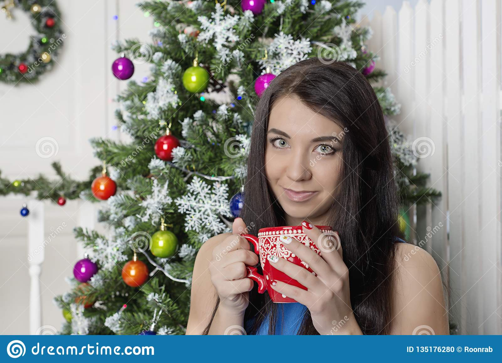 Hot coffee on New Year`s Eve, with a beautiful girl.