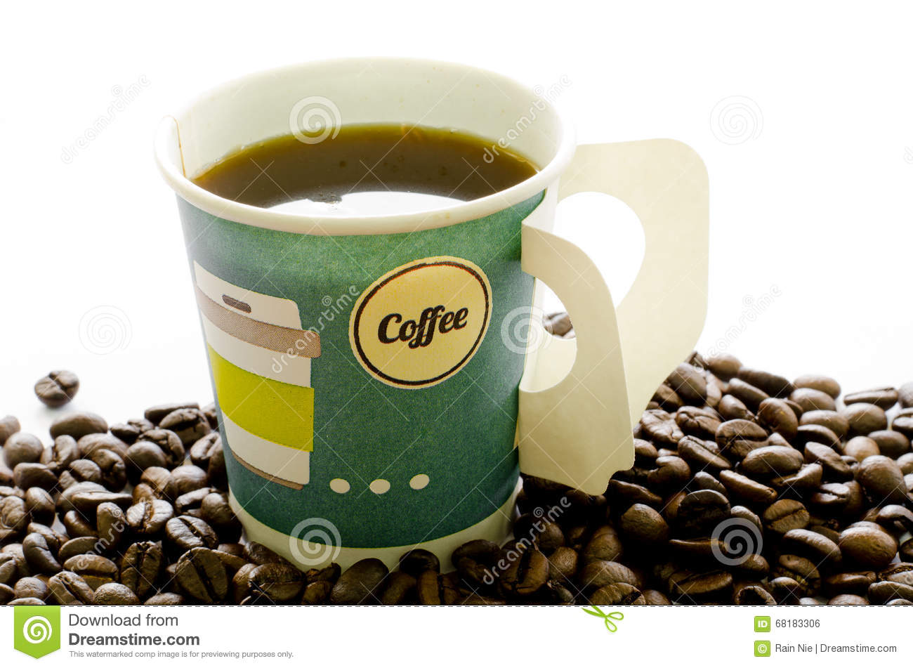 Hot Coffee In Paper Cup Beans On White Background