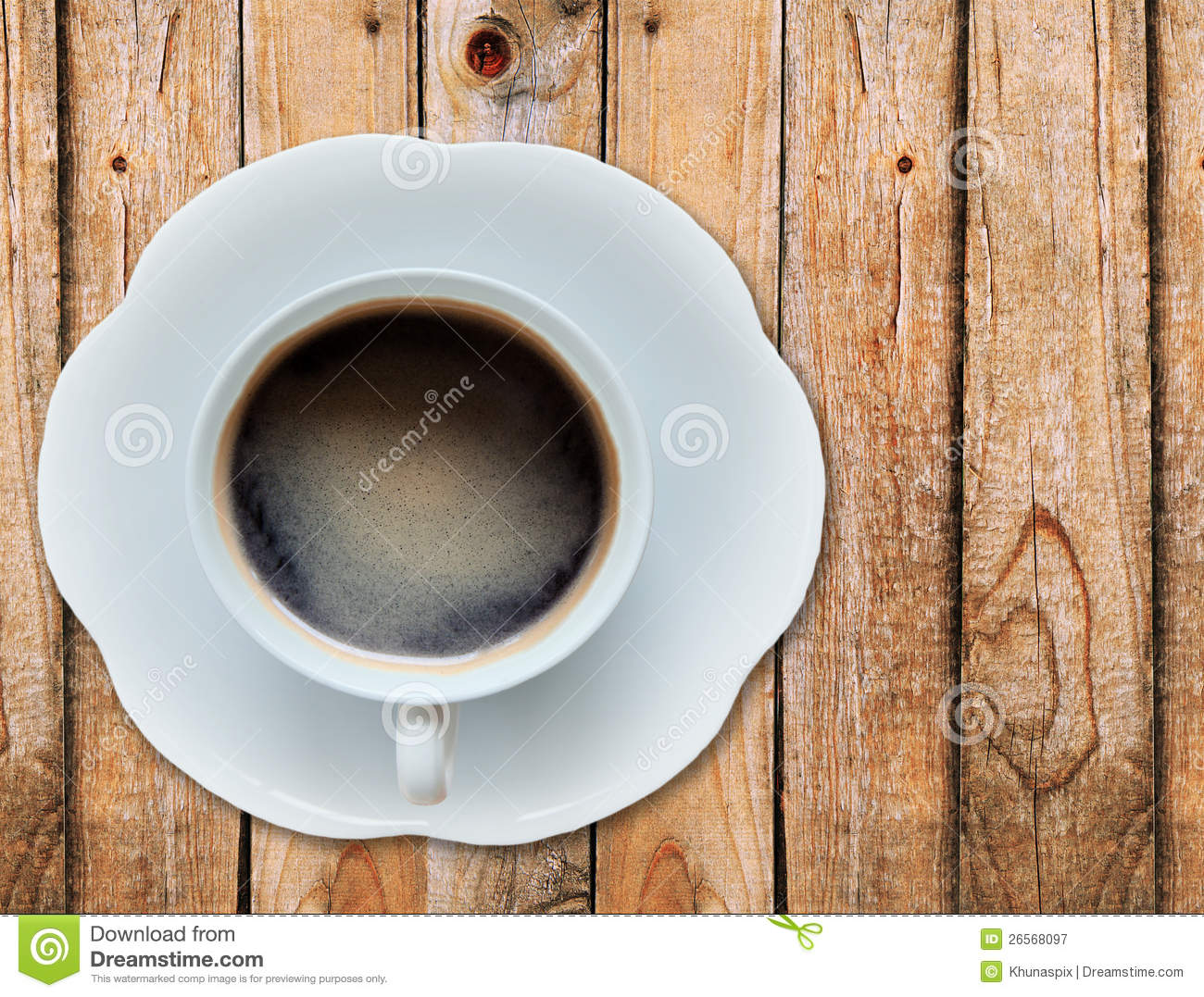 Hot coffee on wood texture