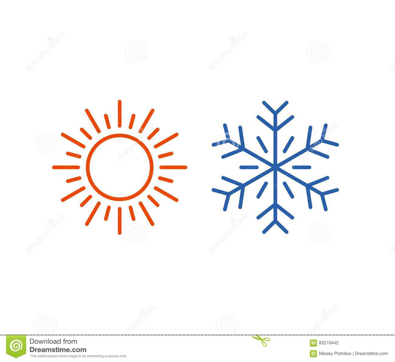 Hot And Cold Icon Sun Snowflake Symbol Stock