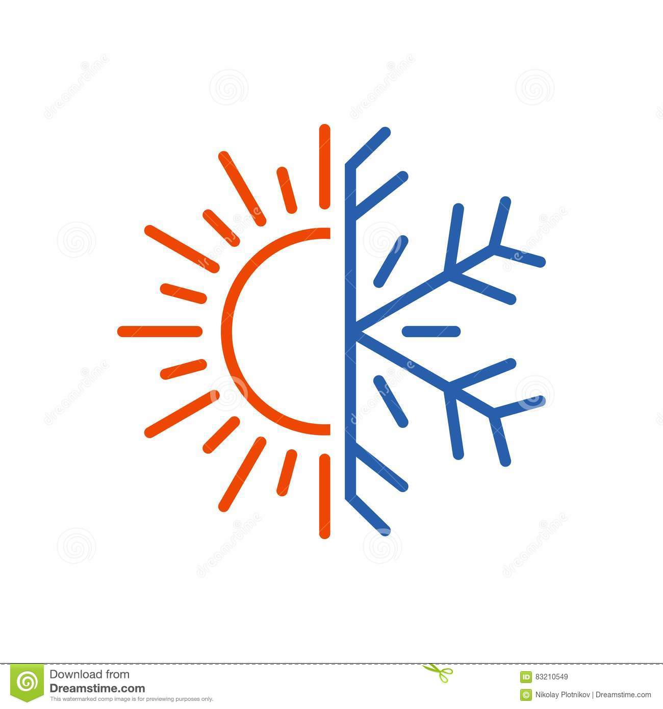 Hot And Cold Icon Sun Snowflake Symbol Stock Illustration