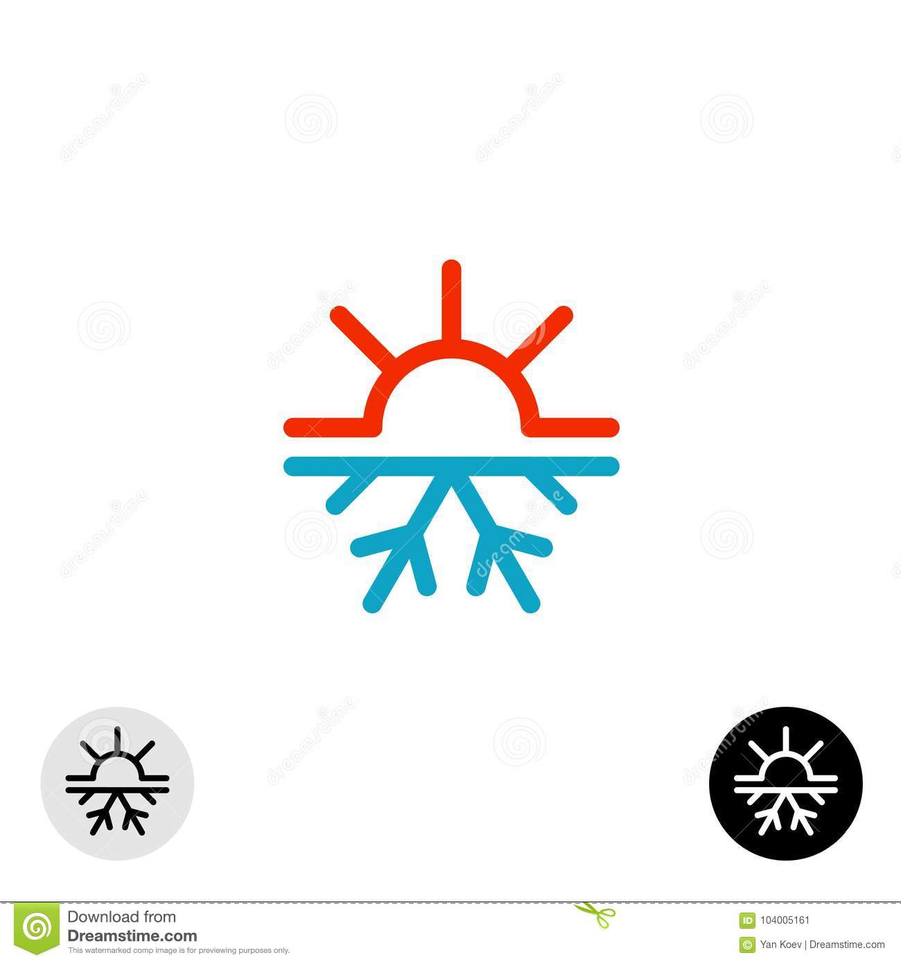 Hot And Cold Symbol Sun And Snowflake All Season Concept Logo