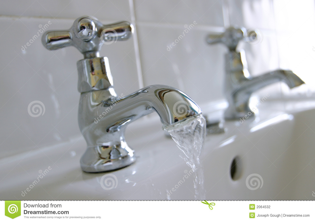 Hot Amp Cold Water Sink Taps Stock Photo Image Of Closeup