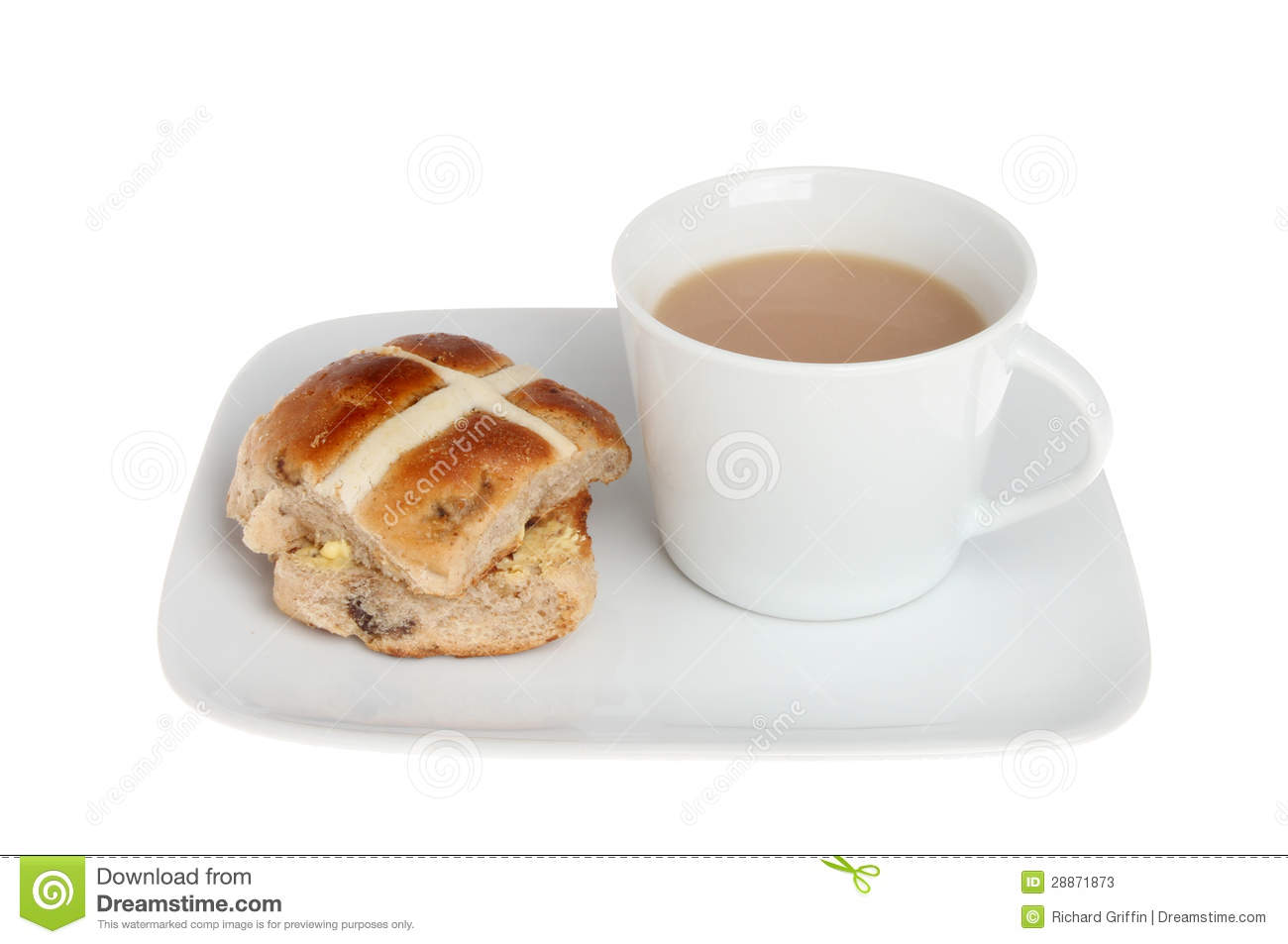 Hot cross bun and a cup of tea on a plate isolated against white.