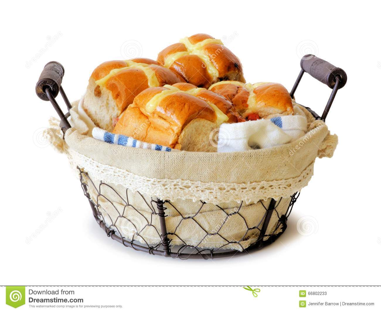 Hot Cross Buns In A Vintage Wire Basket Over White Stock Image ...