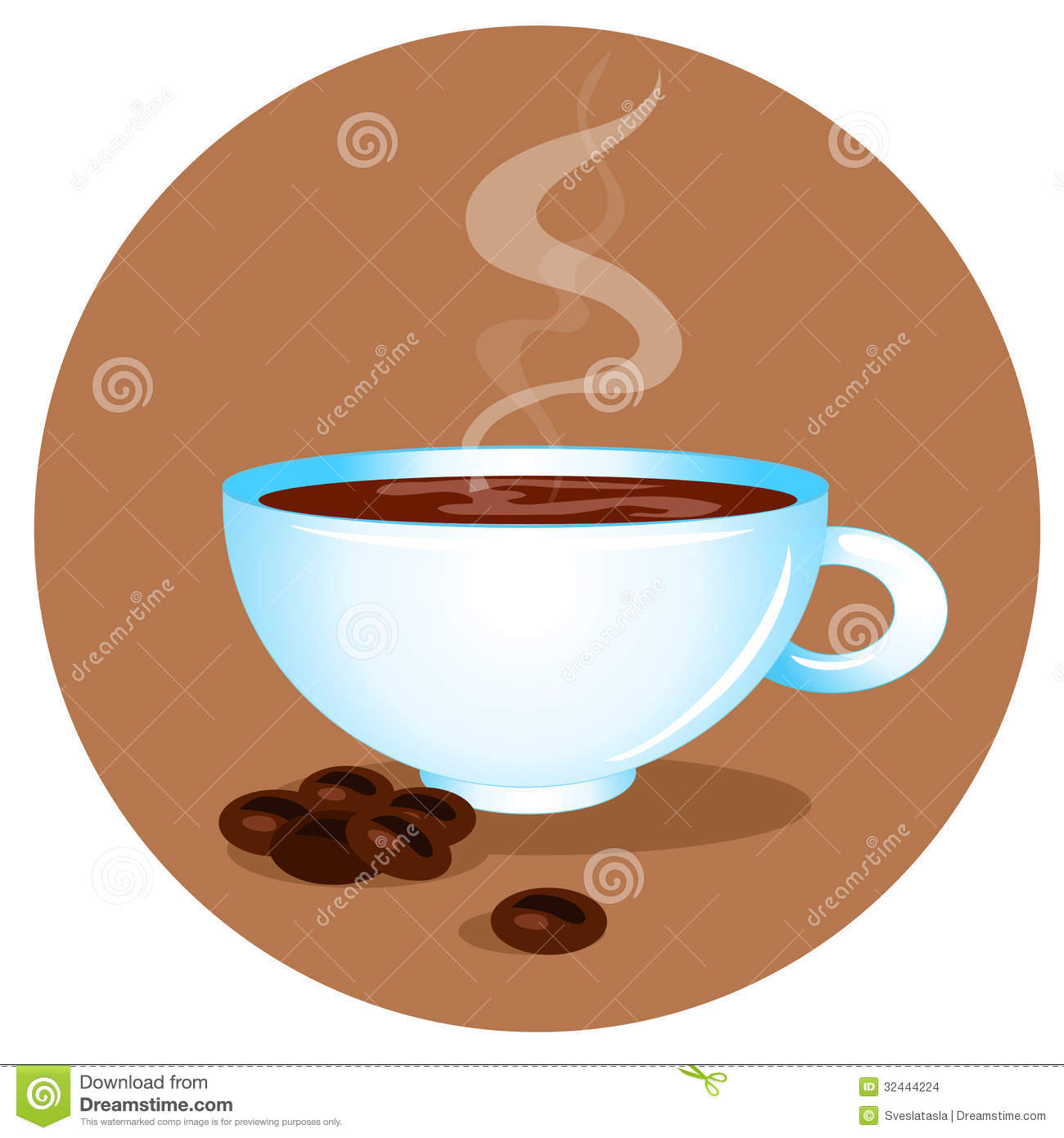 Hot Cup Of C... Coffee Beans And Cup Background