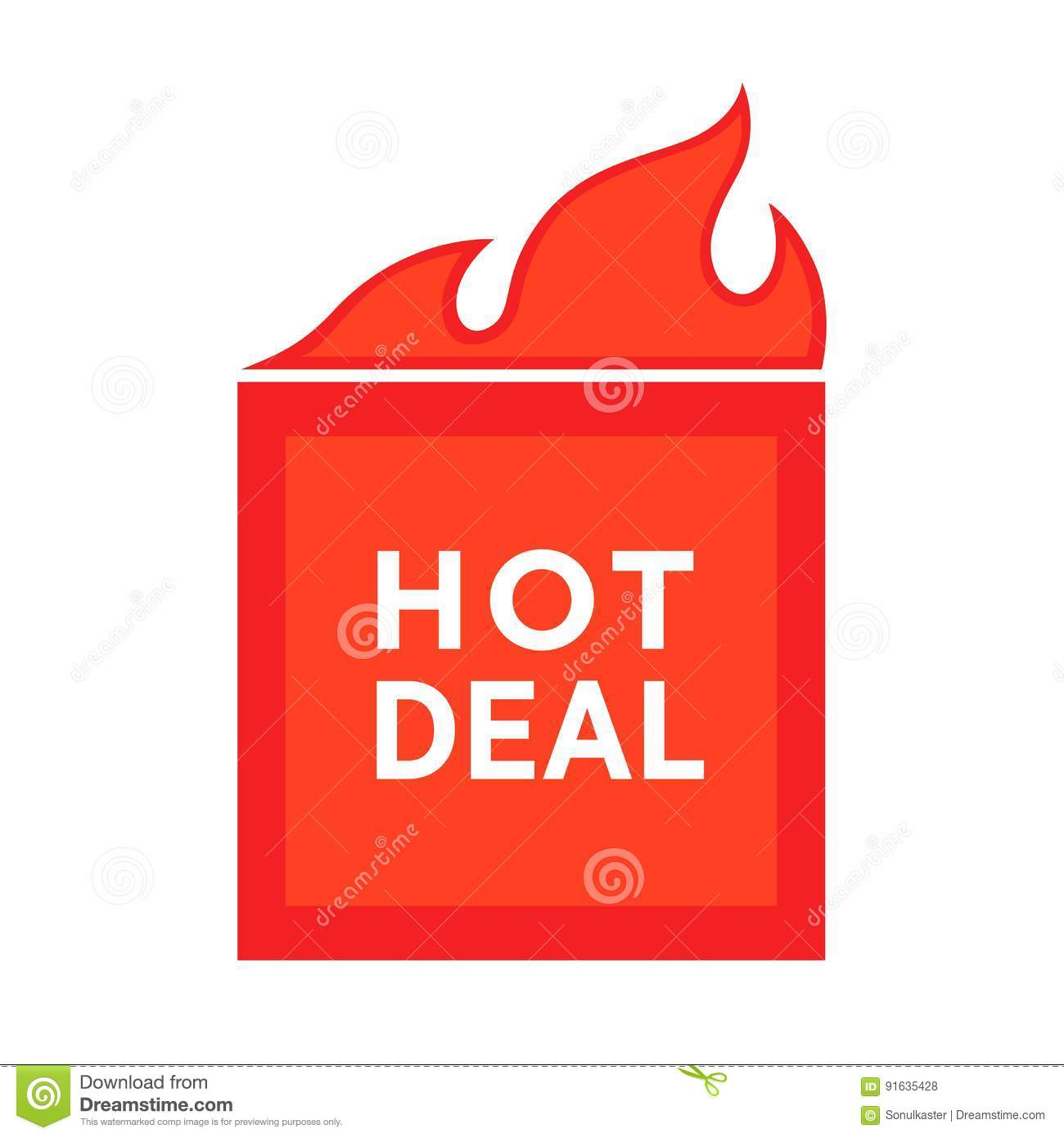 Poster design price - Hot Deal Advertising Poster Price Reduction Sticker With Burning Symbol Stock Vector
