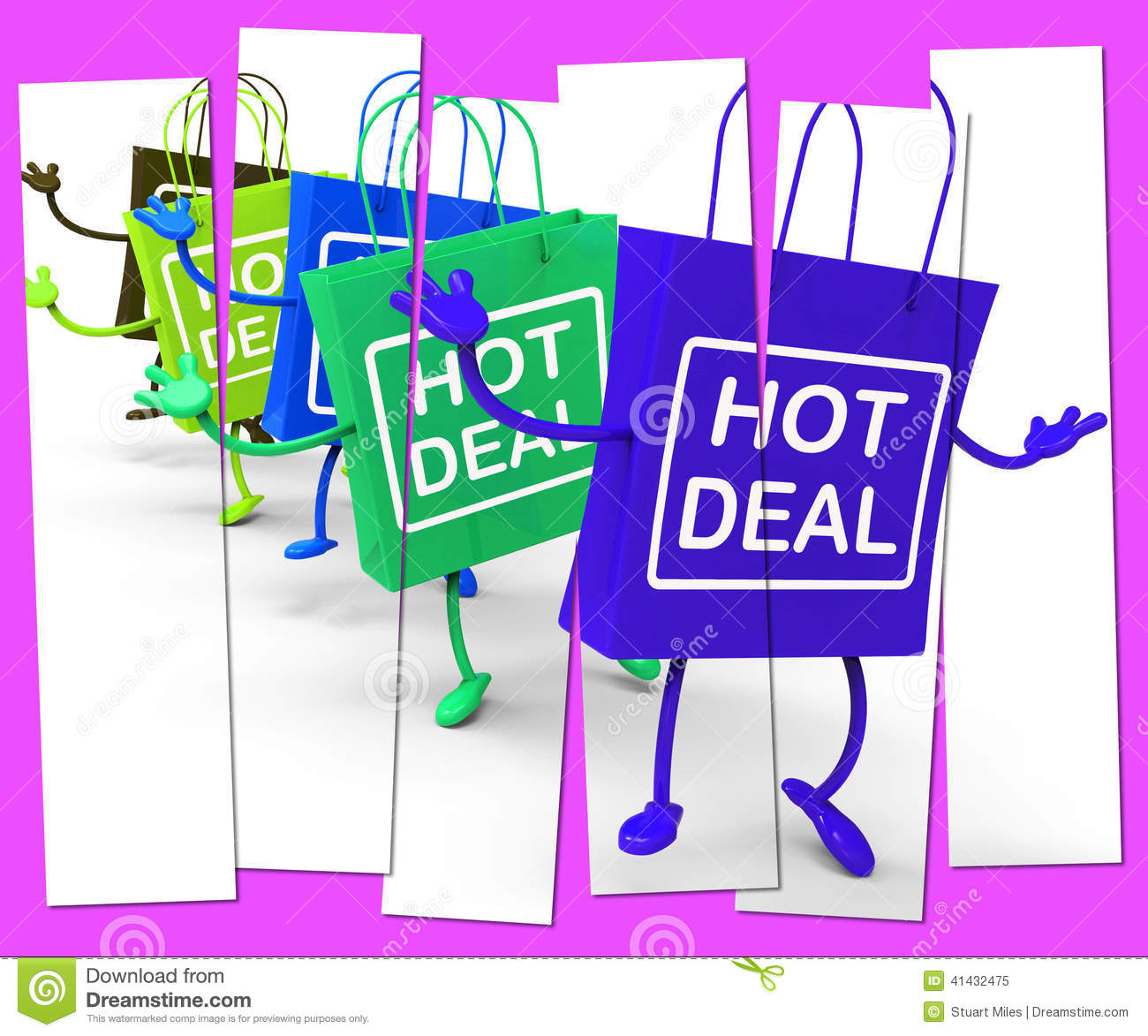 Sales Deal: Hot Deal Shopping Bag That Shows Sales, Bargains, And
