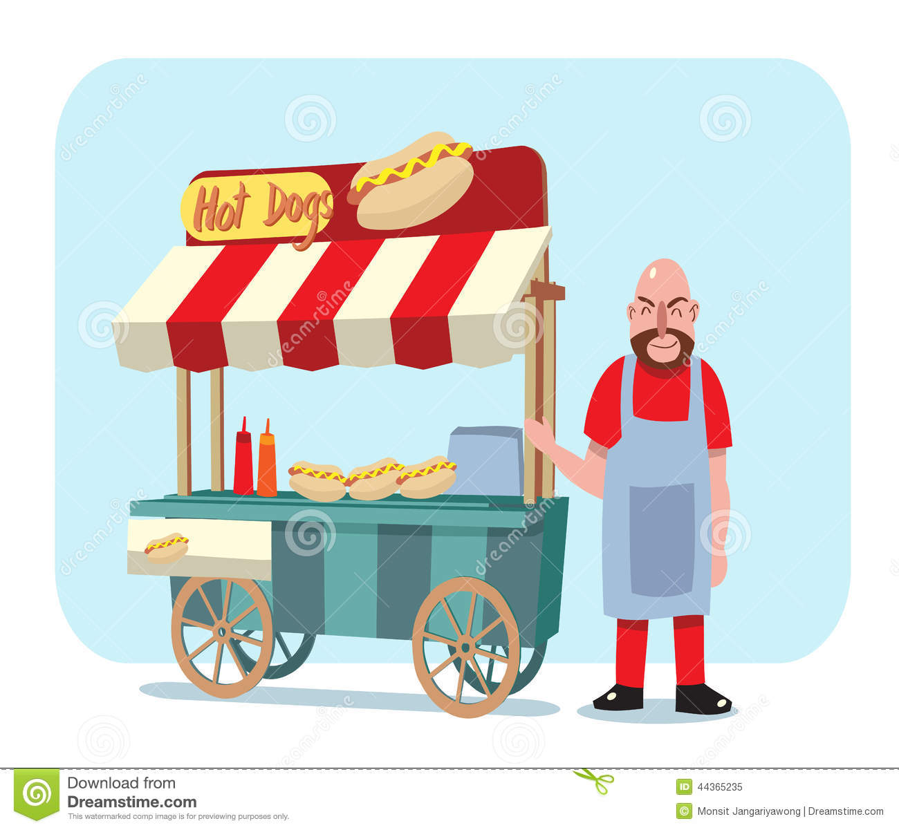 hot dog cart with shop owner vector illustration stock vector illustration of design School Lunch Clip Art hot lunch clipart free