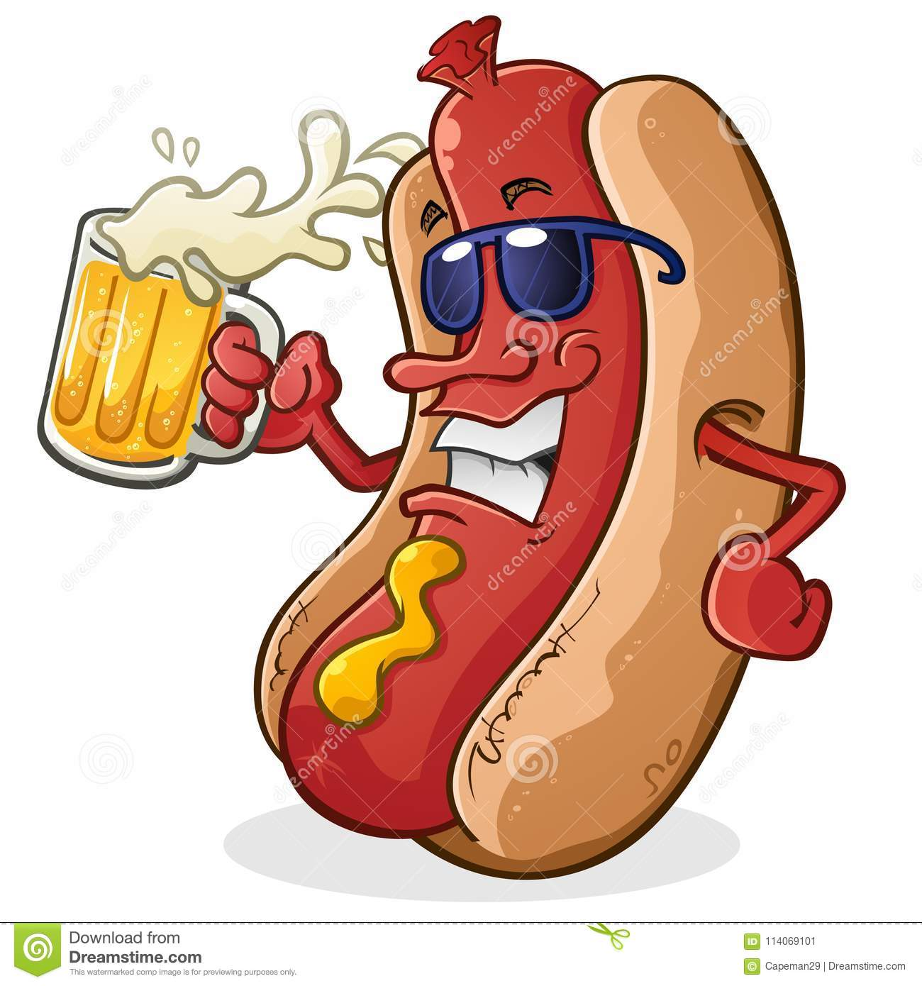 Hot Dog Cartoon Character Drinking Beer Stock Vector Illustration