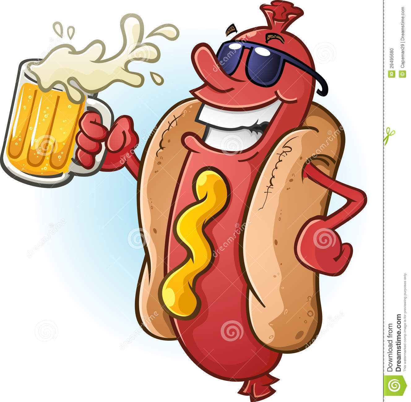 Stock Photo: Hot Dog Cartoon Wearing Sunglasses and Drinking Cold Beer