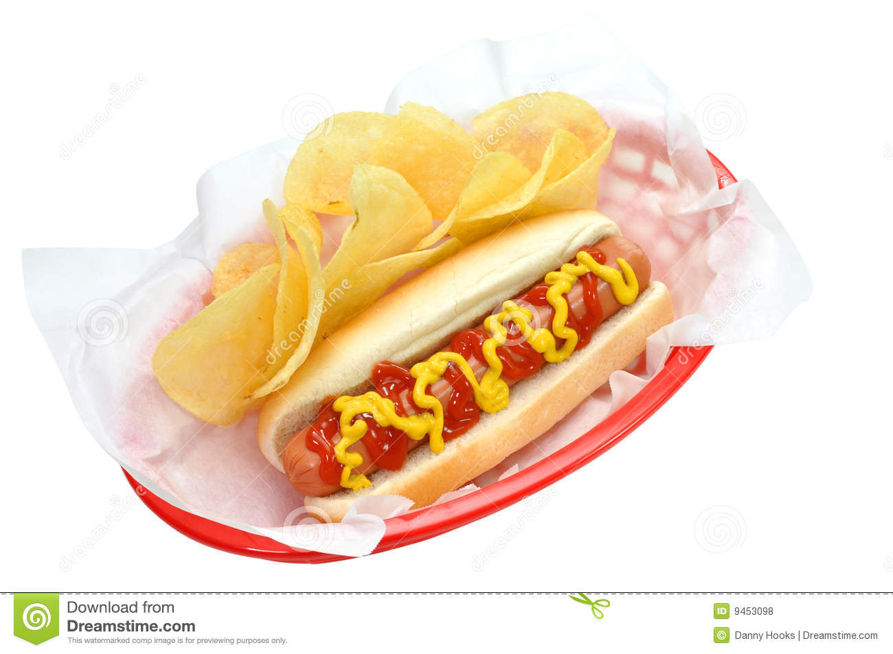 Hotdog And Chips Clipart Hot Dog, Chips, Isolat...
