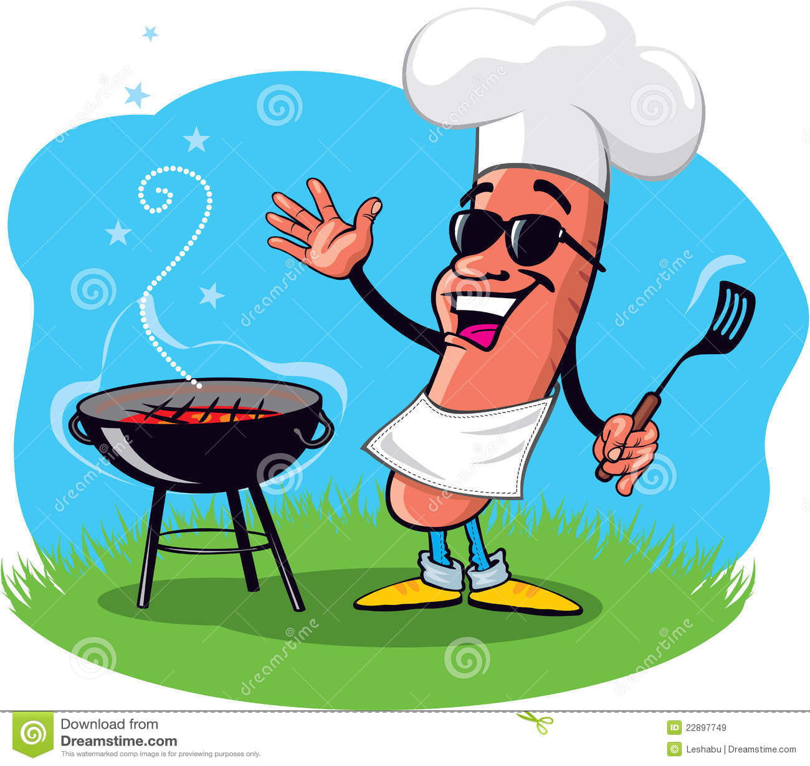 Dessin Barbecue hot-dog de barbecue de dessin animé illustration de vecteur