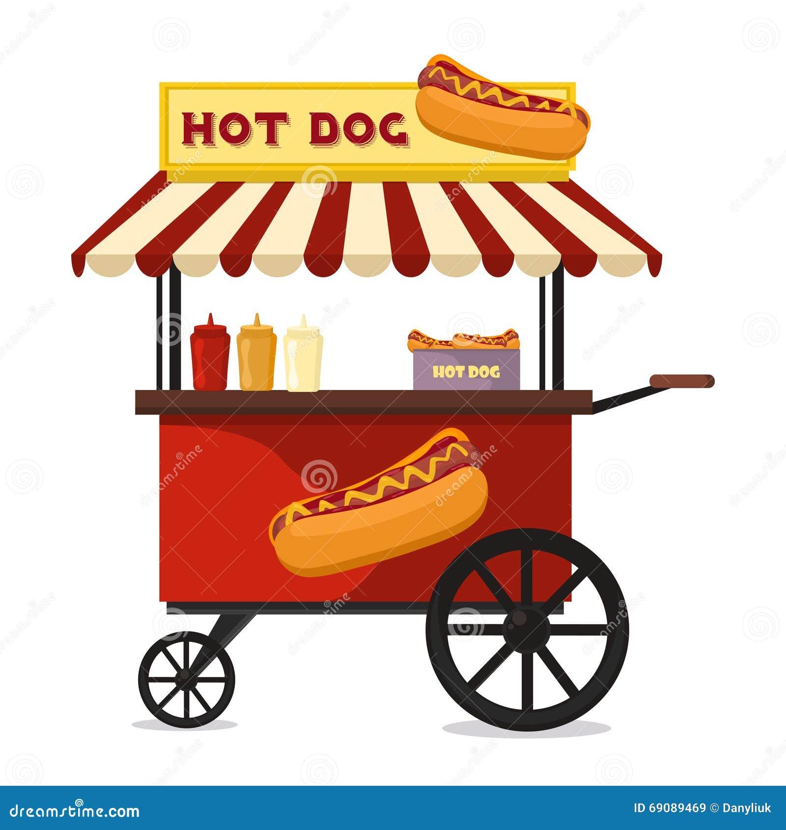 Hot Dog Fast Food Shop Street Cart City Flat Vector Stock