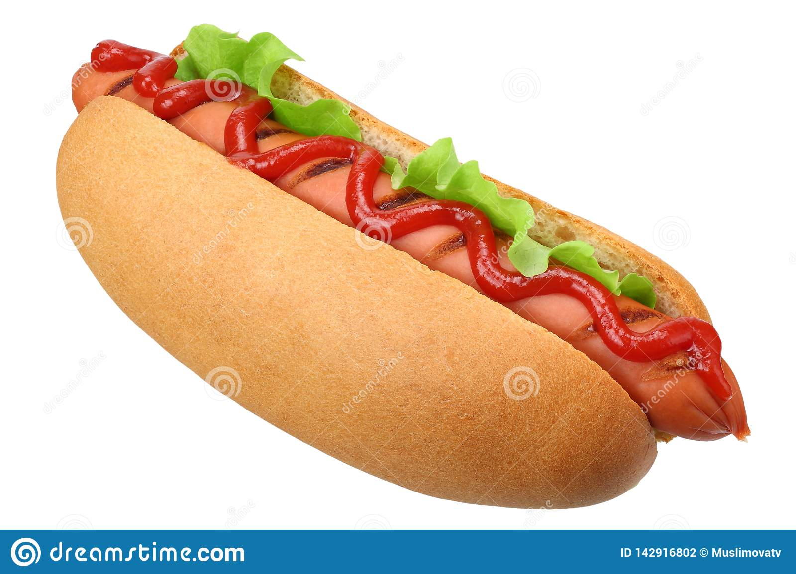 Hot dog grill with lettuce isolated on white background. fast food
