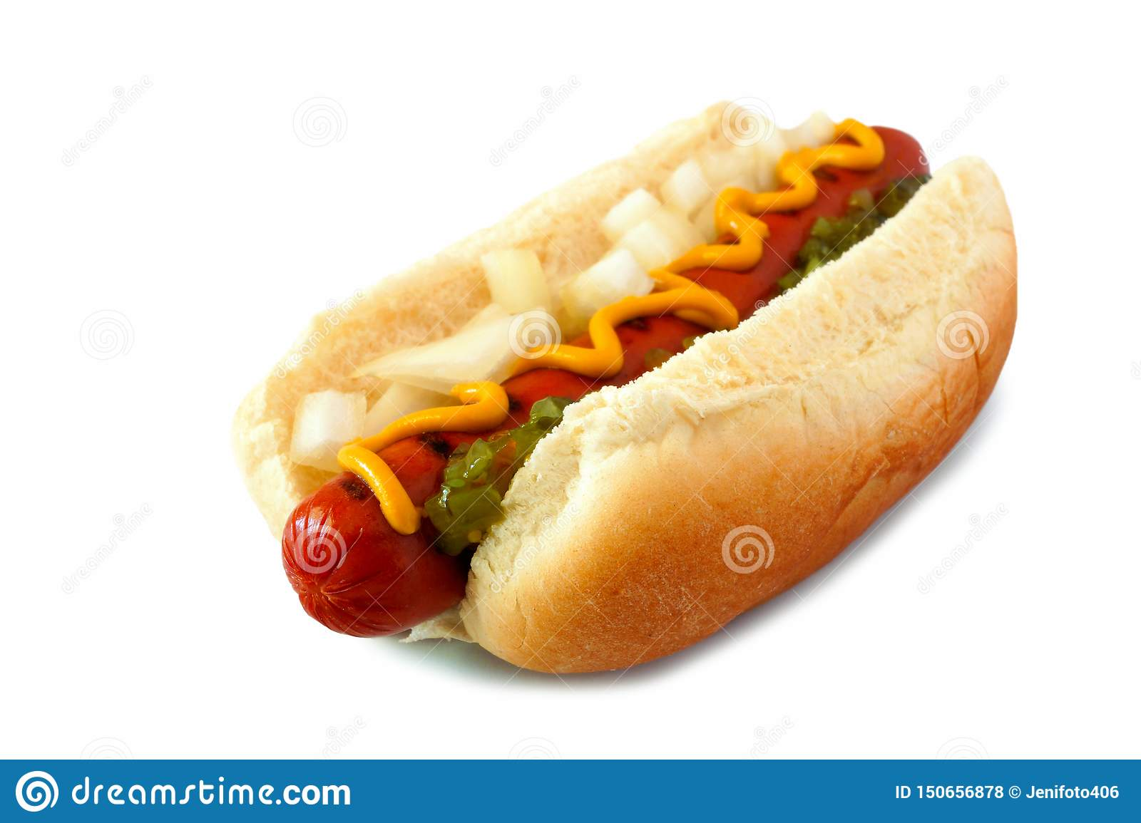 Hot dog with mustard, onions and relish isolated on white